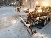 New York Sanitation Department did its best to clean the streets from snow during the blizzard.